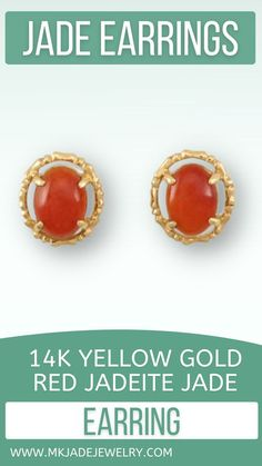 Beautiful, even red jade oval cabochons set in a 4-prong mounting with bamboo design frame with post backs. Use discount code INSTA10JORDAN at checkout! Jade Earrings, Red Gold, Bamboo Design, Earring Crafts, Polymer Clay Earrings, Yellow, Frame, Beautiful, Picture Frame