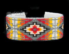 Native American Beaded Cuff Bracelet -Navajo (ij354) - Mission Del Rey Southwest