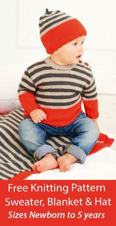 Free Knitting Pattern Baby Sweater, Blanket and Hat Rico 198 Matching baby or child set in stripes with sweater jumper with shoulder buttons for easy dressing, beanie hat, and blanket with ribbed border. Sweater To Fit Age: 0 – 6 mos, 6 – 12 mos, 12 – 24 mos, 2 – 3 yrs, 4 – 5 yrs, Blanket: 61cm/24in to 76cm/30in, Hat: One Size. DK weight yarn. Designed by Rico. Baby Knitting Patterns, Baby Patterns, Free Knitting, Sweater Blanket, Baby Cardigan, Dk Weight Yarn, Baby Sweaters, Hat Sizes, Simple Dresses