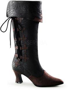 Victorian Style Side Lace Cuffed Knee High Kitten Heel Boots Shoes Adult Women #Pleaser #CowboyWestern