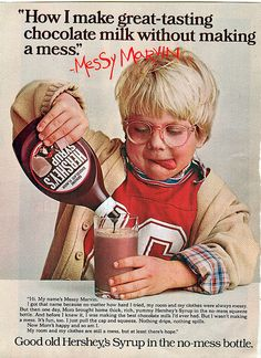 """Peter Billingsley as Messy Marvin - he would go onto play Ralphie in """"A Christmas Story"""" Retro Ads, Vintage Ads, Vintage Food, Vintage Recipes, Vintage Stuff, Messy Marvin, Hershey Syrup, Old Advertisements, 80s Kids"""