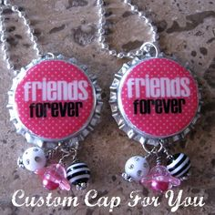 etsy CustomCapsForYou..Aren't these great! These are going to be some cute favors! #bottlecap #necklace #friends #gift #craft #jewelry #etsy #pink #bling