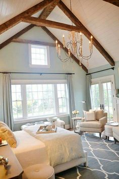 Bedroom farmhouse vaulted ceiling blue scheme color white neutral casual