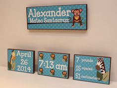 Birth Announcement Wall Art - Baby Name Wall Art - Custom Nursery Wall Hangings - Children Room Decor - Personalized Wall Art for Kids Room