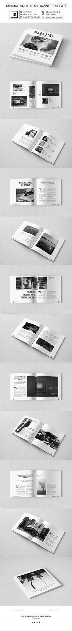 Minimal Square Magazine Template 	InDesign INDD. Download here: https://graphicriver.net/item/minimal-square-magazine-template/17552736?ref=ksioks