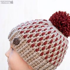 Speckled Ridge Beanie (Hat) by Northern Knots - This easy crochet beanie features a pmo pom and a chic little button to help it stand out