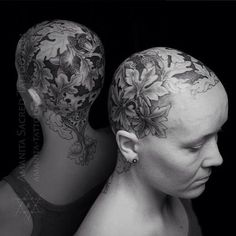 Feminine work by Mike Amanita.  Scalp tattoo