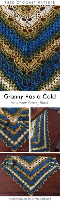 Virus Meets Granny Shawl [Free Crochet Pattern]   DIY