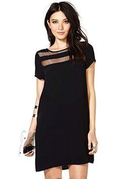 Balck O-neck Short Sleeve Shift Dress