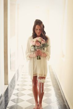 Bride getting ready with bouquet - wedding photos - MB Photography -- Melissa barrick