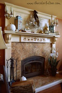 Mantel  Decorations : IDEAS &  INSPIRATIONS : A Fall Mantle: Decorated in Silver, Gold, Pale Blue and Off White