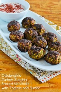 Ottolenghi's Turkey-Zucchini Meatballs with Tzatziki Sauce and Sumac (Low-Carb, Gluten-Free) [from Kalyn's Kitchen]