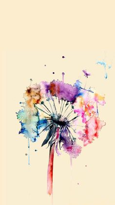 Löwenzahn Aquarell Malerei bunte Wand-Dekor von WatercolorMary … Dandelion Watercolor Painting Colorful Wall Decor by WatercolorMary Watercolor Print, Watercolor Flowers, Tattoo Watercolor, Watercolor Ideas, Painting Flowers, Simple Watercolor, Dandelion Painting, Watercolor Background, Watercolor Animals