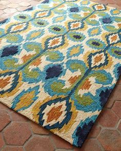 """""""Leanne"""" Ikat Rug at Horchow.  Just ordered for my breakfast room. Indoor/outdoor- just hose it off."""