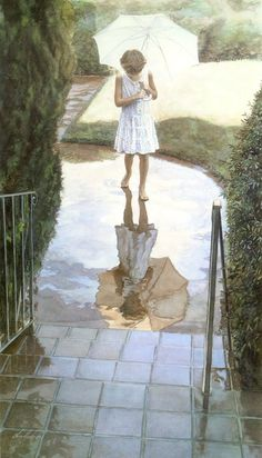 reflection of umbrella in a puddle, young girl in white dress; Steve Hanks