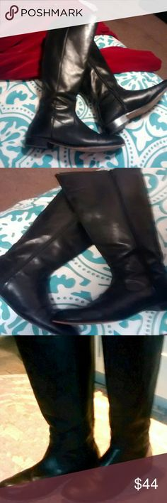 Kenneth Cole Black Riding Boots Beautiful rich-looking boots looking for new owner.    * Tall * Heels, toes, and soles in very good condition *Zippers work well *No scratches *Very comfy! Kenneth Cole Shoes