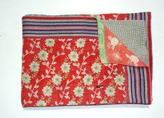 Vintage Kantha Quilt Sari Kantha Blanket Hand by tribalcrafthome, $86.00