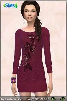 The Sims Resource: Knit dress with rose application by Fashion Victim • Sims 4 Downloads