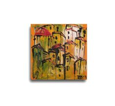Toscana Acryl/Sand / orange Canvas / Drawing (49.00 EUR) by Kunstmuellerei