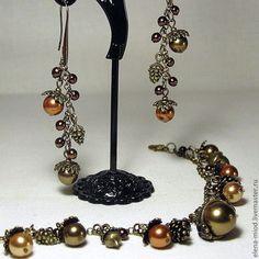 Комплект (браслет с подвесками + длинные серьги) с хрустальным жемчугом Сваровски