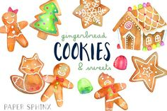 Gingerbread Cookies Holiday Pack Graphics **13 holiday gingerbread sweets, hand-painted in watercolors. Includes gingerbread houses, cookies a by PaperSphinx