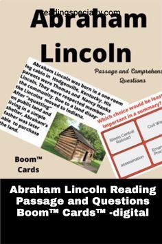 Students read a passage about Abraham Lincoln, the 16th president of the United States and leader of the country during the Civil War. As they develop background while they are reading, students check their comprehension with embedded questions. Self-corrected and motivating, students will learn historic facts and practice important comprehension skills. Passage Writing, Reading Passages, Interactive Learning, Learning Activities, Middle School History, High School, Example Of Biography, Comprehension Questions, Student Reading