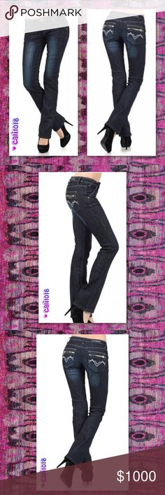 ⭐️⭐️COMING IN 2-3 DAYS RESERVE YOUR SZ TODAY⭐️⭐️ NEW DARK DENIM POCKET PANTS WITH ZIPPER AT THE BACK & SILVER EMBROIDERY STYLE: Wide Leg  Material: 75% COTTON, 23 % POLYESTER, 2% SPANDEX  Made in China  Size: 11, 13 only  🌺🌺PRICE FIRM UNLESS BUNDLED🌺🌺 🌺Sorry, no trades🌺 🌺🌺LOWBALL OFFERS WILL BE IGNORED🌺🌺 Glam Squad 2 You Jeans
