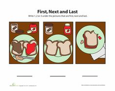 Worksheets: First, Next, Last 3