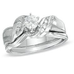 1/3 CT. T.W. Diamond Bridal Set in 10K White Gold - View All Jewelry - Gordon's Jewelers
