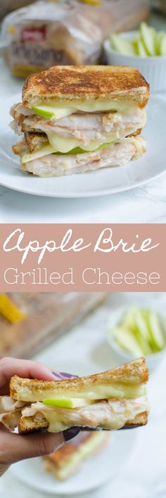 Apple Picker's Harvest Grilled Cheese - the perfect fall sandwich recipe! Turkey, brie, and fresh apple slices. Plus, a honey drizzle!