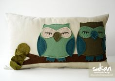 I like this owl pillow so much - love the design, LOVE these colors - pillow by sukanart #owls