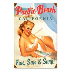 Pacific Beach California Pinup Girl metal sign, vintage style advertising, retro…