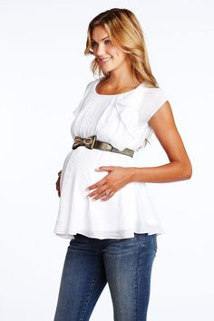 Belted Maternity Blouse from Maternal America. Easily pairs with any bottom to keep you cool and fashionable this summer!