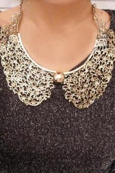 Vintage Bib Collar Necklace with Cut Out Detail