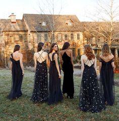 9 Times Bridesmaids Brought It Wearing Black Dresses Bridesmaid Dresses long black bridesmaid dresses Fall Bridesmaid Dresses, Black Bridesmaids, Wedding Bridesmaids, Wedding Dresses, Dresses Dresses, Bridal Gowns, Gothic Wedding, Dream Wedding, Moon Wedding