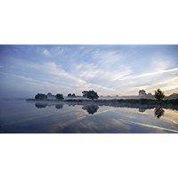 Artland Echt-Glas-Wandbild Deco Glass Andrea Potratz Nebelstimmung am Morgen Landschaften Himmel Fotografie Blau