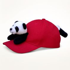 Panda on Red Baseball Cap made by Bearhands & Buddies ($9.68)