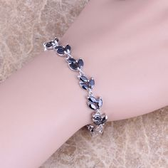 Superior Black Created Sapphire 925 Sterling Silver  Link Chain Bracelet 6.5 - 7.5 inch   S0316