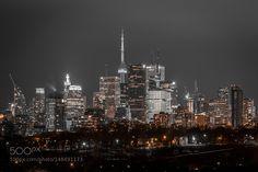 Toronto Skyline by KMcLachlan Toronto Skyline, New York Skyline, City Buildings, Urban Design, Maid, Skyscraper, Cities, Street Art, Minimal
