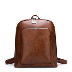 Vintage Women Backpack School Bags For Teenage Girls Shoulder Bag Female Oil Wax Leather Backpacks Mochilas Mujer 2018 Bagpack Shoulder Backpack, Backpack Purse, Crossbody Bag, Shoulder Bag, Faux Leather Backpack, Leather Backpacks, Best Work Bag, Convertible Backpack, School Backpacks