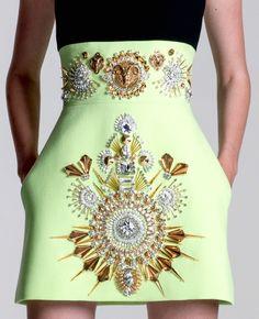 neon embellished skirt