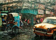 India, Kolkata, Monsoon season
