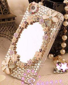 3D Luxury Mirror flower Crystal diamond case cover for IPhone 5 4 4S   eBay