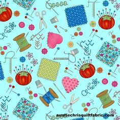 Product Information Product Type - yardageFabric Collection- Shop Hop 8665Fabric Manufacturer - Bonnie Krebs for Henry GlassColor - teal blue, red, green, yellow,pinkTheme - quilting theme, sewing items, hearts, buttons, scissors, patchworkFabric ...