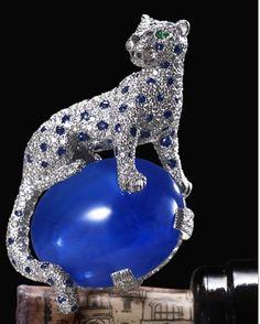 La spilla di Cartier che il Duca di Windsor acquistò per la consorte: diamanti e zaffiri con un cabochon di zaffiro di 152 carati! The Duchess of Windsor's Cartier sapphire and diamond panther clip. The cabochon sapphire is 152 carats. http://www.molu.it/?p=3054