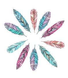 Colorful Feather Tattoo With Awesome Design
