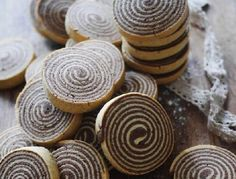 - Chocolate and Vanilla Shortbread Spiral Cookies - add orange zest to both batters/paste and bits of pecan nuts between layers