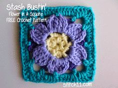 Ravelry: Stash Bustin' Flower in a Square pattern by Corina Gray