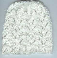 My favorite knitting patterns for hats are those that have a little bit of frill. This lacy number is just what I'm talking about. The pattern itself is simple, but the added lace makes this Lace Baby Beanie extra girly. Knitting For Charity, Baby Hats Knitting, Knitting For Kids, Baby Knitting Patterns, Baby Patterns, Free Knitting, Knitting Projects, Knitted Hats, Crochet Patterns