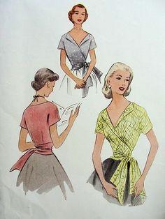 1950s BEAUTIFUL WRAP AROUND SURPLICE BLOUSE PATTERN McCALLS 8968
